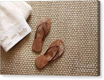 Flip Flops With Towels On Seagrass Rug Canvas Print by Sandra Cunningham