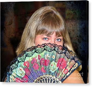Flirting With The Fan Canvas Print by Mariola Bitner
