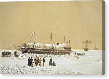 Floating Battery La Tonnante In The Ice Canvas Print by A. & Morel-Fatio, A. Bayot