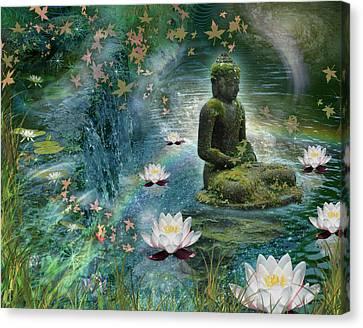 Floating Lotus Buddha Canvas Print by Alixandra Mullins