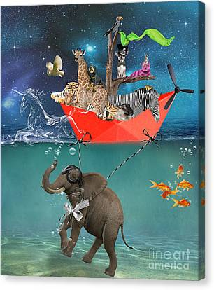 Floating Zoo Canvas Print by Juli Scalzi