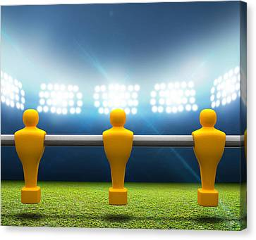 Floodlit Stadium With Foosball Players Canvas Print by Allan Swart
