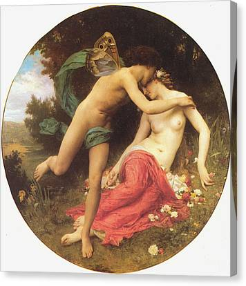 Flora And Zephyr Canvas Print by William Bouguereau