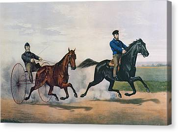 Flora Temple And Lancet Racing On The Centreville Course Canvas Print by Currier and Ives