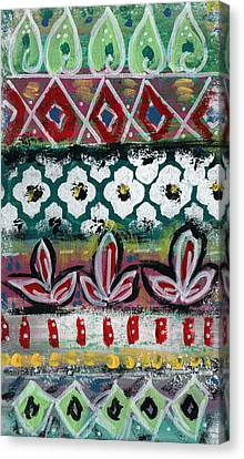 Floral Fiesta- Colorful Pattern Painting Canvas Print by Linda Woods