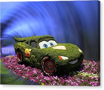 Floral Lightning Mcqueen Canvas Print by Thomas Woolworth