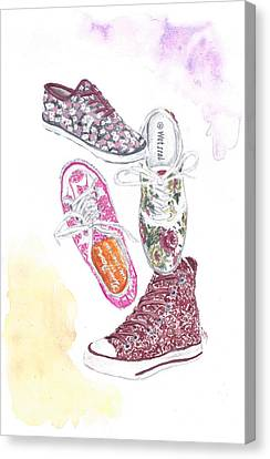 Floral Sneakers Canvas Print by Sabina Mollot
