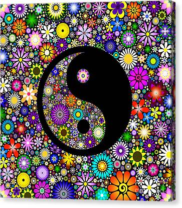 Floral Yin Yang Canvas Print by Tim Gainey