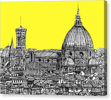 Florence Duomo In Acid Yellow Canvas Print by Adendorff Design