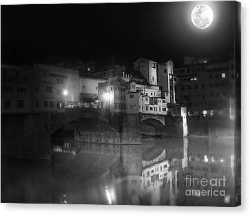Florence Italy - Ponte Vecchio At Night Canvas Print by Gregory Dyer