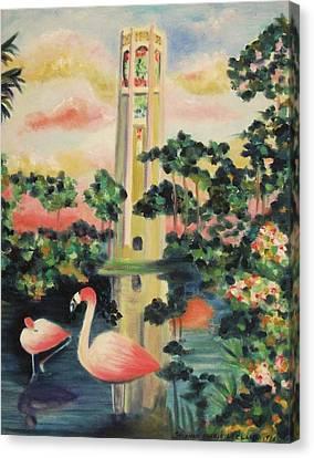 Florida Flamingo's Canvas Print by Suzanne  Marie Leclair