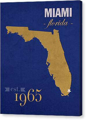 Florida International University Panthers Miami College Town State Map Poster Series No 038 Canvas Print by Design Turnpike