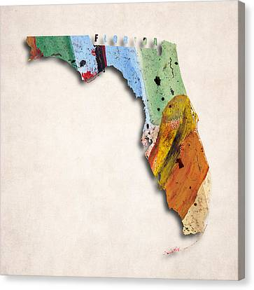Florida Map Art - Painted Map Of Florida Canvas Print by World Art Prints And Designs