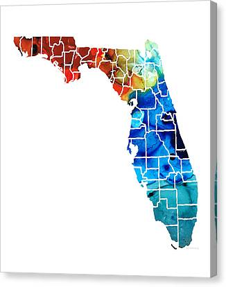 Florida - Map By Counties Sharon Cummings Art Canvas Print by Sharon Cummings