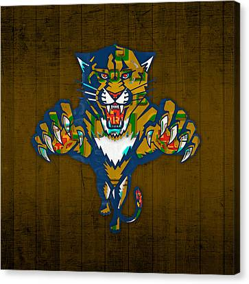 Florida Panthers Hockey Team Retro Logo Vintage Recycled Sunshine State License Plate Art Canvas Print by Design Turnpike