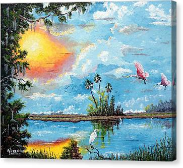 Florida Wilderness Oil Using Knife Canvas Print by Riley Geddings