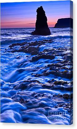Flow - Dramatic Sunset View Of A Sea Stack In Davenport Beach Santa Cruz. Canvas Print by Jamie Pham