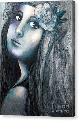 Girl With Flowers Canvas Print by Home Art