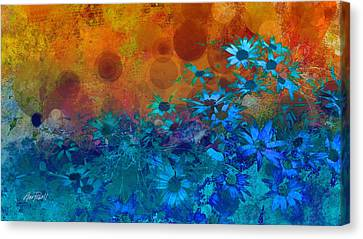 Flower Fantasy In Blue And Orange  Canvas Print by Ann Powell