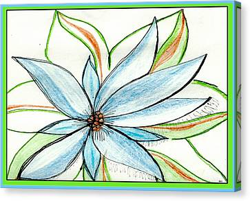 Flower In Blue Canvas Print by Becky Sterling