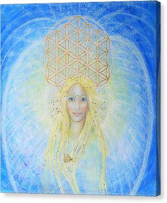 Flower Of Life Angel Canvas Print by Lila Violet