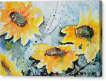 Flower Power- Floral Painting Canvas Print by Ismeta Gruenwald