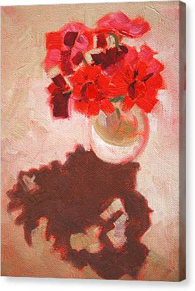 Flower Shadows Still Life Canvas Print by Nancy Merkle