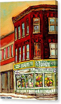 Flower Shop Painting Boutique Coin Vert Fleuriste Montreal Central 3403 Rue Notre-dame Scenes  Canvas Print by Carole Spandau