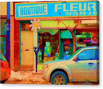 Flower Shop St Henri Boutique Fleuriste Window Notre Dame Ouest Montreal City Scene Carole Spandau Canvas Print by Carole Spandau