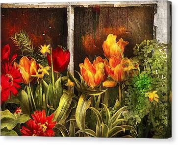 Flower - Tulip - Tulips In A Window Canvas Print by Mike Savad