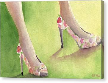 Flowered Shoes Fashion Illustration Art Print Canvas Print by Beverly Brown Prints