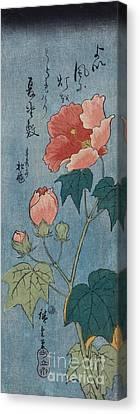 Flowering Poppies Tanzaku Canvas Print by Ando Hiroshige