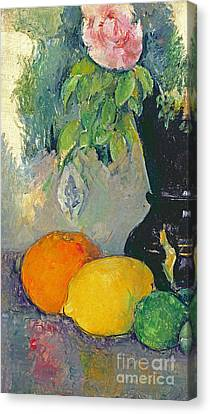 Flowers And Fruits Canvas Print by Paul Cezanne