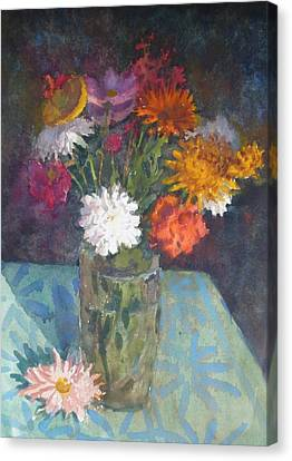 Flowers And Glass Canvas Print by Terry Perham