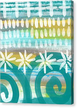 Flowers And Waves- Abstract Pattern Painting Canvas Print by Linda Woods