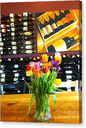 Flowers And Wine Canvas Print by Susan Garren