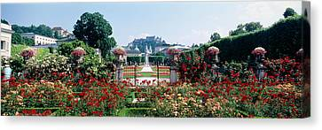 Flowers In A Formal Garden, Mirabell Canvas Print by Panoramic Images