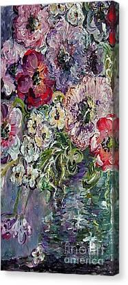 Flowers In An Antique Blue Vase Canvas Print by Eloise Schneider