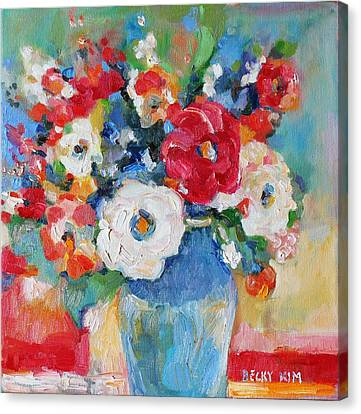 Flowers In Blue Vase 1 Canvas Print by Becky Kim
