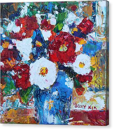 Flowers In Blue Vase 2 Canvas Print by Becky Kim