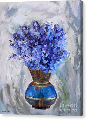 Flowers In Blue Vase Canvas Print by Mirjana Barkovic