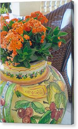 Flowers In Ornate Vase Canvas Print by Robert Bray
