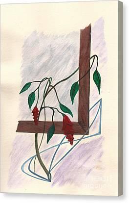 Flowers In The Window Canvas Print by Robert Meszaros