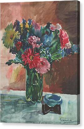 Flowers Of Italy With A Bow Tie And A Blue Bracelet Canvas Print by Anna Lobovikov-Katz