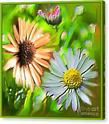Flowers Orange And Blue Canvas Print by Nedunseralathan R