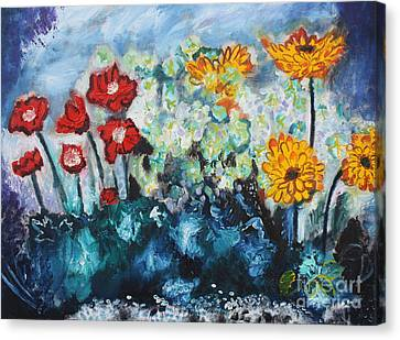 Flowers Through The Storm Canvas Print by Michael Kulick