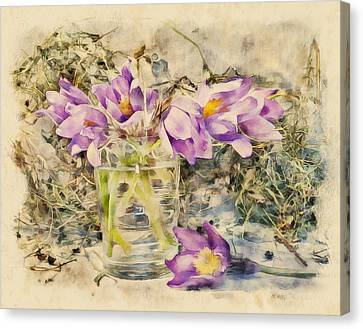Flowers With Grass Canvas Print by Yury Malkov