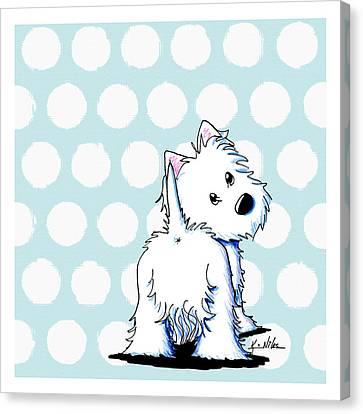 Fluffy Butt Westie Canvas Print by Kim Niles