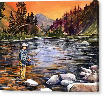 Fly Fishing At Sunset Mountain Lake Canvas Print by Beth Kantor
