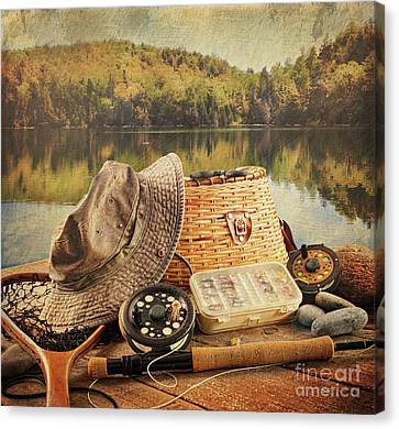 Fly Fishing Equipment  With Vintage Look Canvas Print by Sandra Cunningham